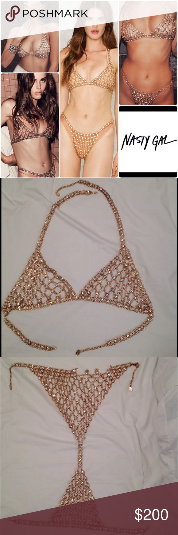 BOSSA Belize Crystal Bikini Set /ONE SIZE The Belize Bikini Set by BOSSA comes in gold chainmail and features a plunging neckline, adjustable back lobster-clasp closure, rhinestone detailing throughout, and full bottom coverage.  ✨TOP IS IN PERFECT CONDITION✨ bottom is missing stones on back. Details in last image!! Can be fixed if you have the time and patience. Nasty Gal Jewelry