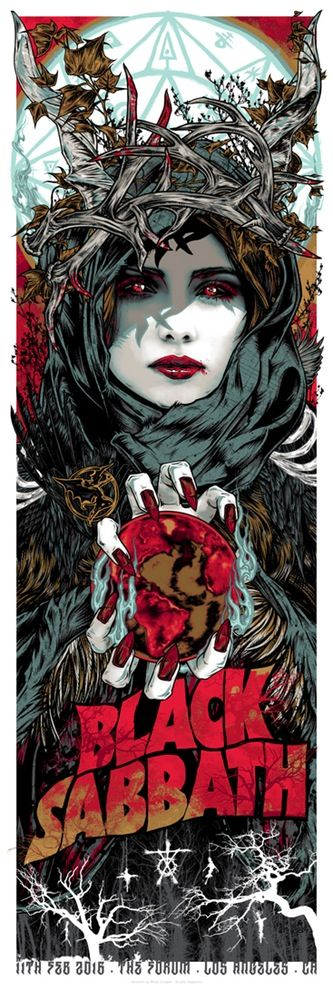 BLACK SABBATH - WITCHES AT BLACK MASSES - Rhys Cooper February 11th 2016 The Forum Los Angeles CA 6 colour silkscreen posters. on heavy 250gsm paper stock printed with metallic inks Artist edition of only 66 12 x 36 inches