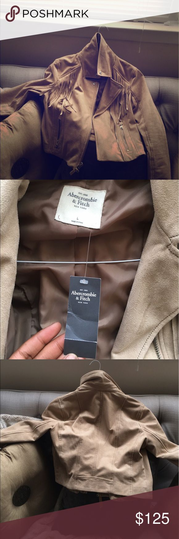 Faux suede jacket Beautiful tan suede jacket light weight.. fringed never worn !!!!! Must have for the cool nights or save it for after summer ...💋 Abercrombie & Fitch Jackets & Coats