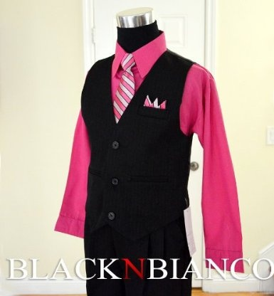 And, another option for the boys. Boys Black Pinstripe Vest Suit with Pink Fuchsia Shirt. Size 2T 3T 4T 4 5 6 7 8 10 12 14: Clothing