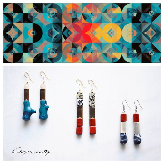 CGC007 - Gold geometric earrings with blue coral and pink quartz