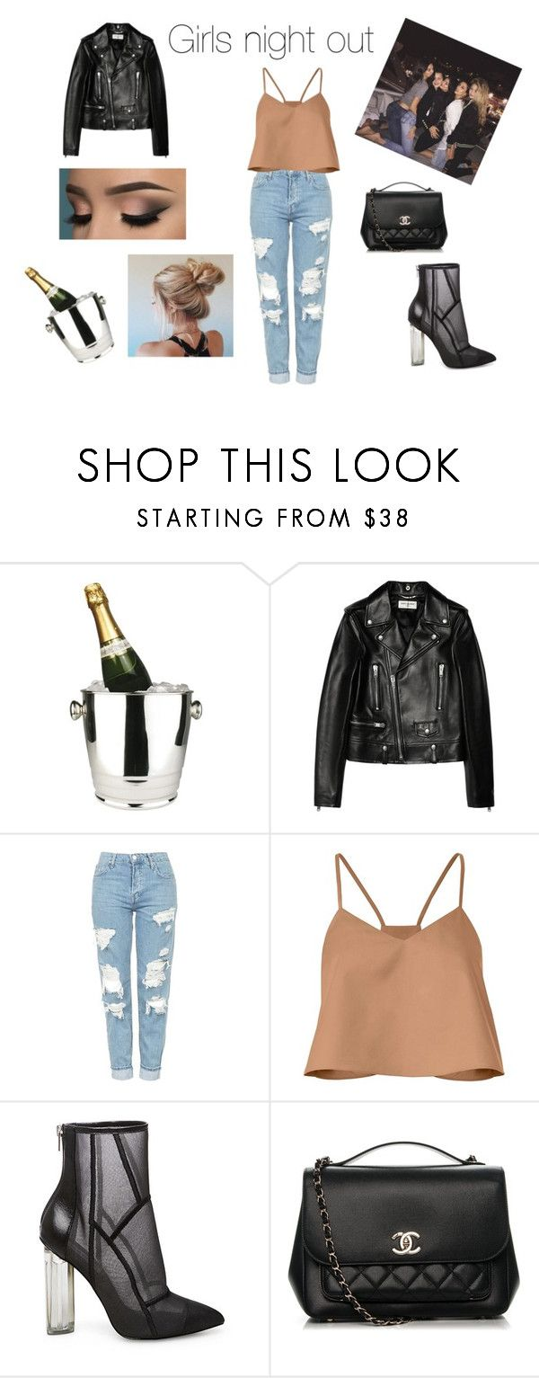 """""""Girls night out"""" by kovacslilla on Polyvore featuring Winco, Yves Saint Laurent, Topshop, TIBI, Steve Madden and Chanel"""