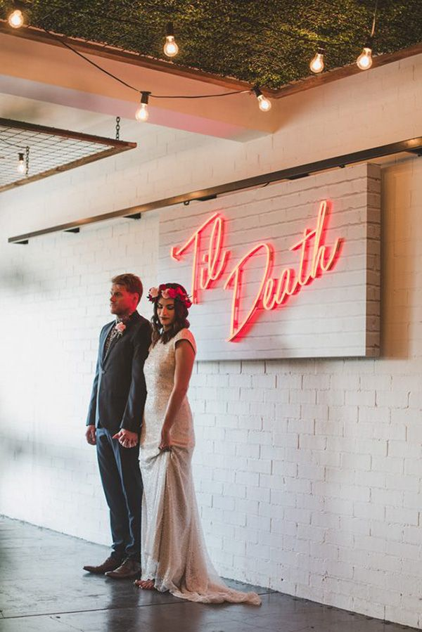 Neon Wedding Sign With Newlyweds | Rose Jane Photography on @polkadotbride via @aislesociety