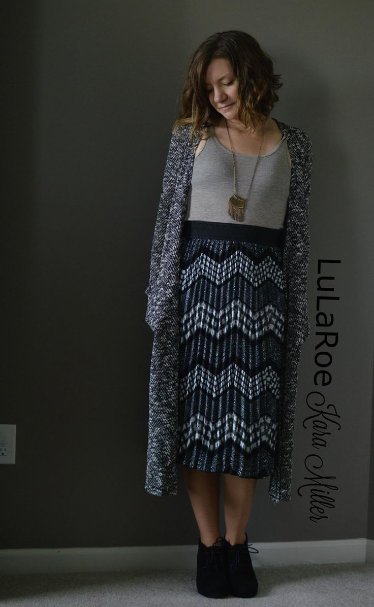 LuLaRoe Fall Fashion Trends  Jill Midi pleated Skirt with Long Sarah Cardigan and Clarks booties Print mixing, neutrals Shop here: https://www.facebook.com/groups/LularoeKaraMiller/