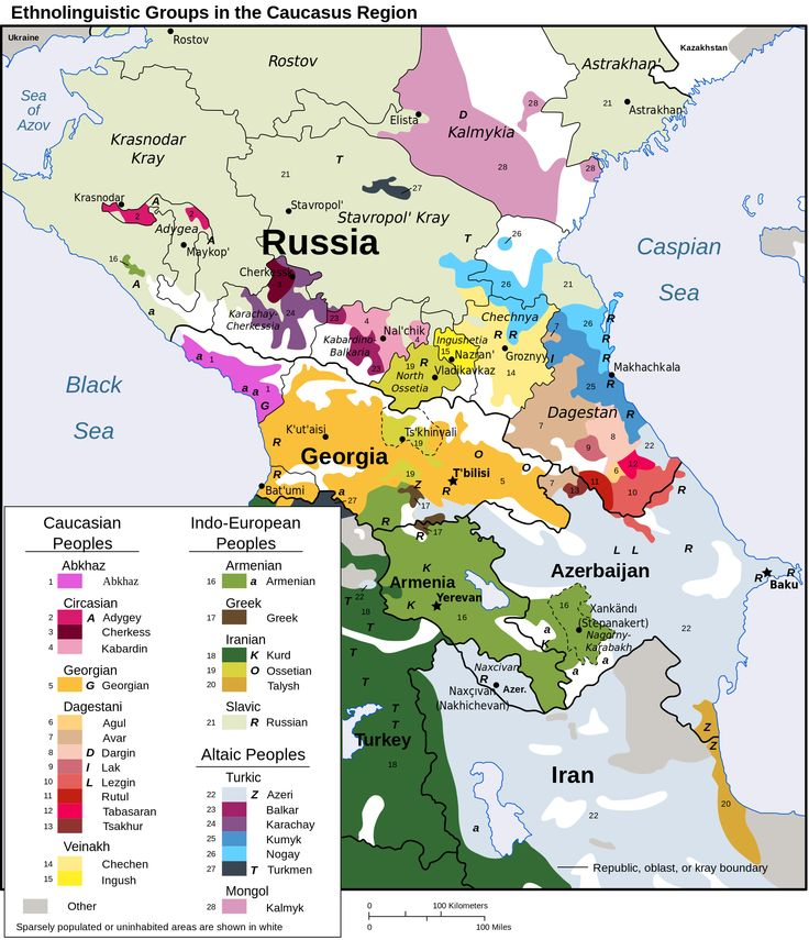 Map of the ethno-linguistic groups in the Caucasus region