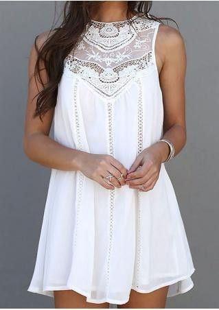 Adorable Lace Detail Chiffon Mini Dress. Perfect for a night out, cocktail party or special occasion! - Material: Chiffon - Features: Sleeveless, O Neck,Lace, Mini Dress Above Knees, Summer style - Si