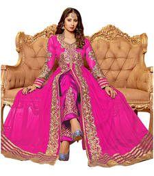 Buy Pink embroidered net semi stitched salwar with dupatta party-wear-salwar-kameez online
