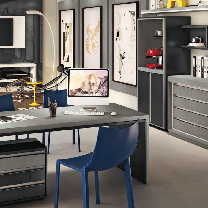 Home Office Daico Línen Grigio Padrões Línen Grigio, Branco, Branco  Diamante E Preto.