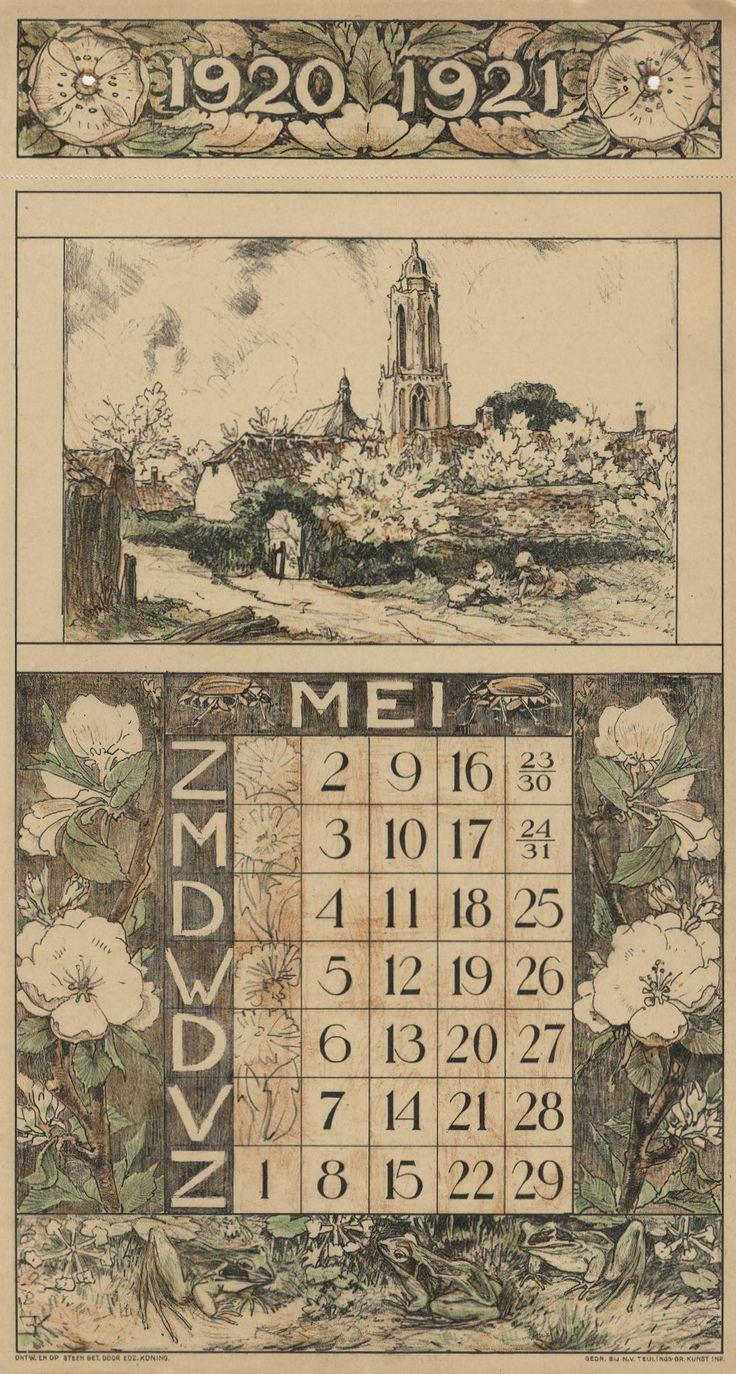 Jubileum Kalender van de Nederlandse Gist en Spiritus fabriek in Delft (1870-1920). Elk blad is apart ontworpen met een tekening (thema boerenleven in Nunspeet) en rond de maand planten en dieren kenmerkend voor het jaargetijde. Het ontwerp is sterk schatplichtig aan eerdere kalenders als van Th. van Hoytema uit de periode 1900-1920.