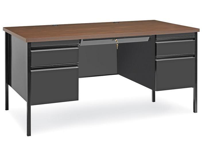 Double Pedestal Steel Desk 60 X 30 H 5685 Uline In 2020