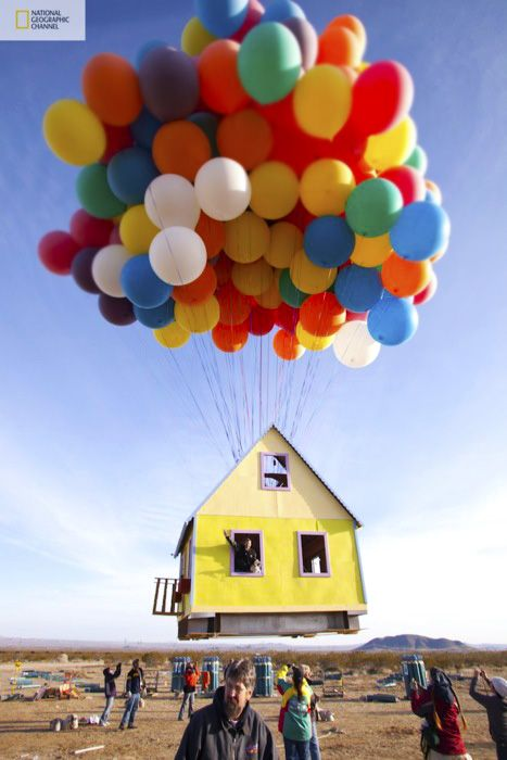 "The folks over at National Geographic, along with a team of scientists, engineers, and world-class balloon pilots, recreated the house from Disney/Pixar's UP! The house flew at an altitude of 10,000 feet for 1 hour before it was brought down. This was all done for the new National Geographic Series ""How Hard Can it Be?"" that premieres this fall.: The National, Floating House, Up House, Real Life, The Real, National Geographic, World Records, Balloon, Pixar Movie"