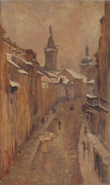 ZDENKA BRAUNEROVÁ (1858-1934, Praha)  Spálená ulice, Praha
