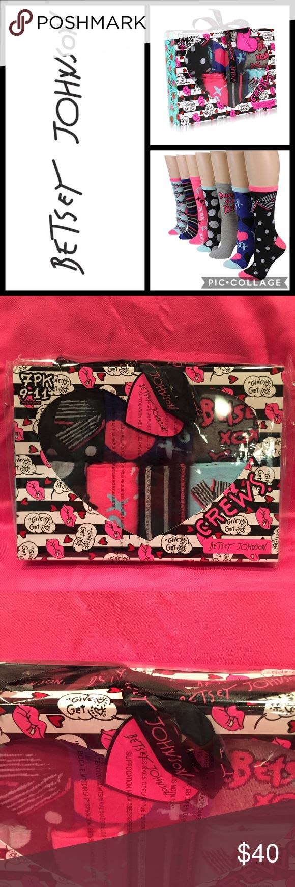 🆕🎁 BETSEY JOHNSON Socks 7-Pack Gift Box NWT 🎁 Women's BETSEY JOHNSON 7-Pack Fashion Crew Socks Gift Box Set Brand New In Sealed Package Retail Price: $50.00 Plus Tax Includes 7 Assorted Designs Of Hearts, Bows And More  Size: One Size; Fits Sock Sizes 9-11 / Shoe Sizes 5-10.5 Material: 97% Polyester, 3% Spandex 🎁 Comes Wrapped In Cellophane With A Betsey Johnson Bow. Ready For Gift Giving! 🎁 Smoke Free Home 🛍 Bundle & Save 🛍 Betsey Johnson Accessories Hosiery & Socks