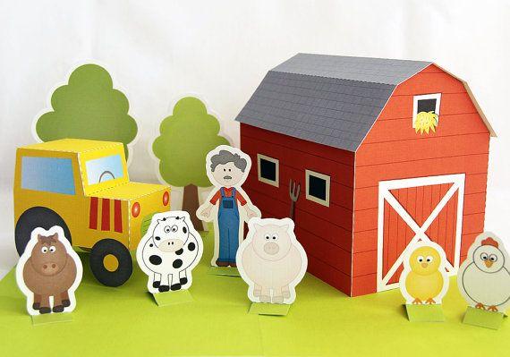 Printable farm  PDF paper craft by neskita on Etsy, $7.00 ME: I wonder if I could DIY this...