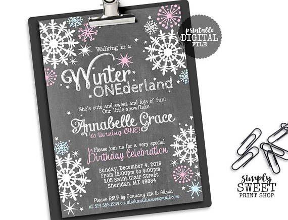 Winter ONEderland Girl Birthday Party Invite Invitation One First Wintery Pink Blue Wonderland Chalkboard Chalk White Snow Snowflakes Stars