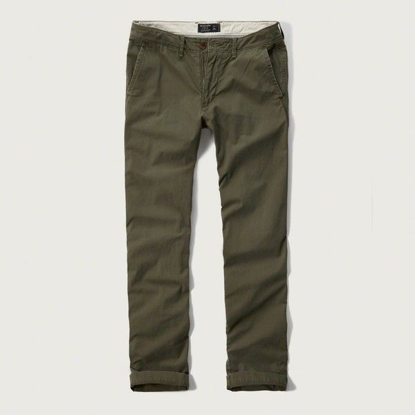 Abercrombie & Fitch Slim Straight Chino Pants ($41) ❤ liked on Polyvore featuring men's fashion, men's clothing, men's pants, men's casual pants, olive, mens zipper pants, mens olive green pants, mens slim fit chino pants, mens olive pants and mens slim pants
