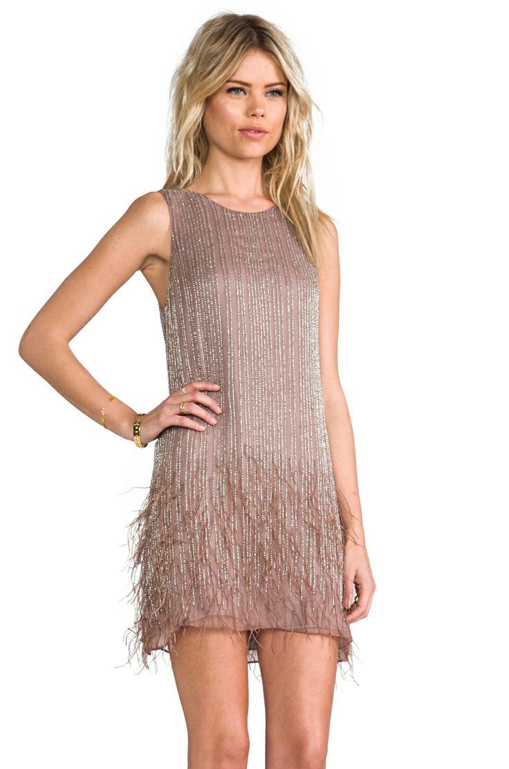 Parker Платье Allegra с отделкой перьями в цвете Серо-коричневый