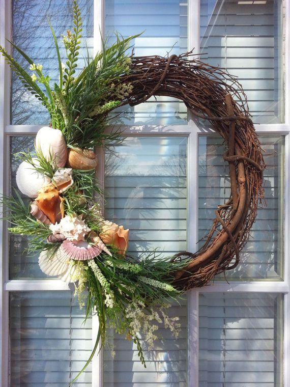 Grapevine Beach Wreath, Coastal Chic, Seashell Wreath. $80.00, via Etsy.