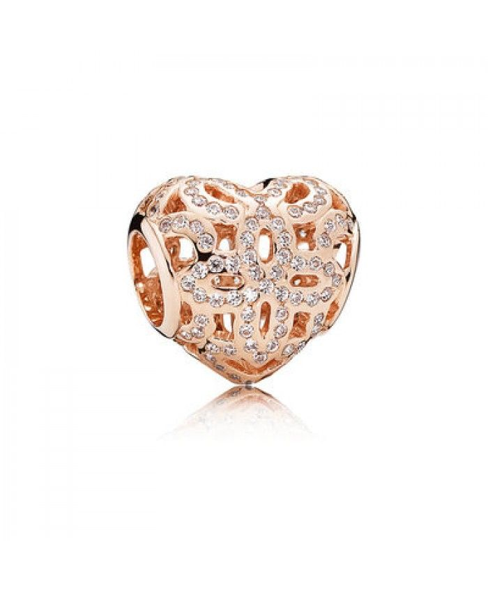 92677467f Genuine Pandora Rose Gold Openwork Heart Charm | pandora rose gold ...