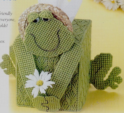 Friendly Frog Tissue Cover Plastic Canvas Craft Pattern Directions | eBay