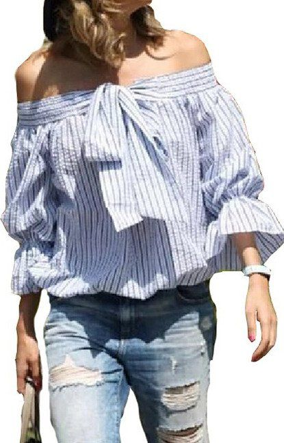 Specifications: Clothing Length:Regular Sleeve Style:Regular Pattern Type:Striped Style:Casual Fabric Type:Broadcloth Material:Cotton,Linen Collar:Slash neck Sleeve Length:Three Quarter Size Bust Slee