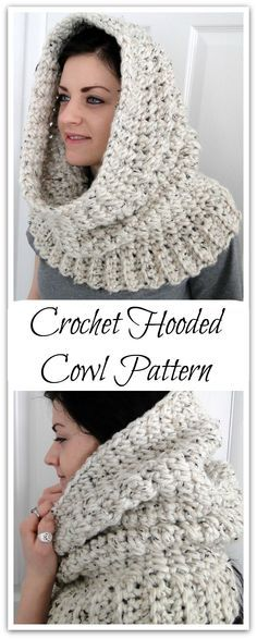 """PDF PATTERN ONLY Hooded Neck Warmer Cowl Scarf for Women """"Winters Comfort"""" Hooded Cowl - Instant Download #ad #affiliate"""