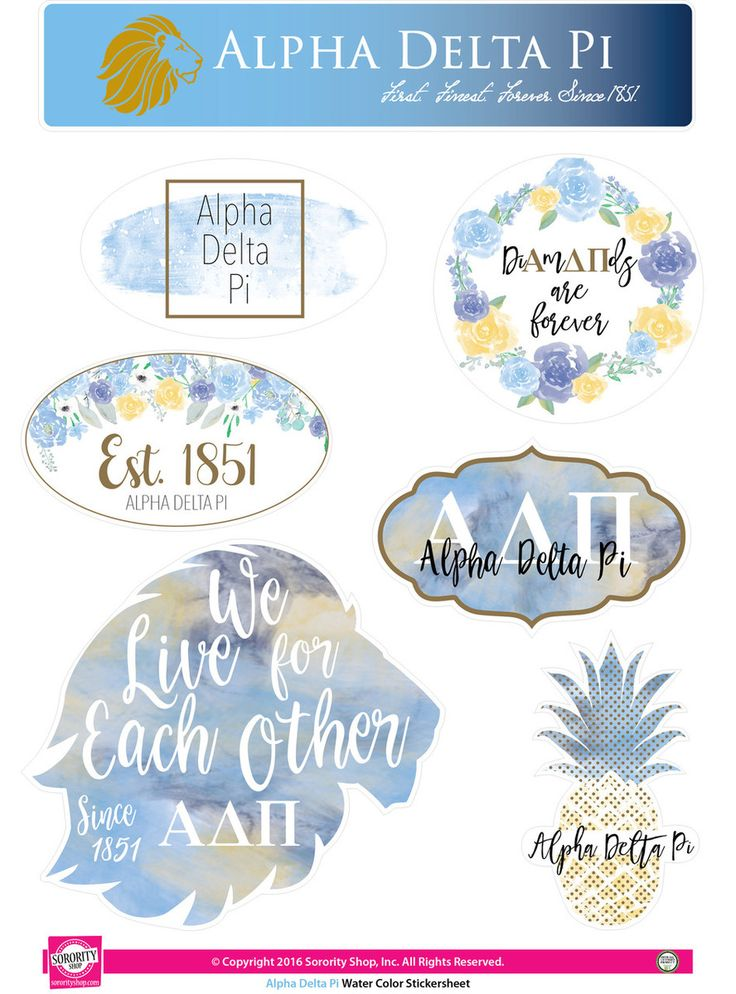 Alpha Delta Pi ADPI Sorority Stickers- Water Color - Brothers and Sisters' Greek Store