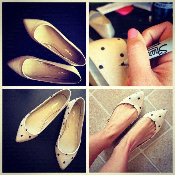 DIY polka dot shoes.: Diy Sho, Diy Polka, Polka Dots Shoes, Diy'S, Diy Fashion, Fashion Style, Polka Dot Shoes, Old Shoes, Polkadots
