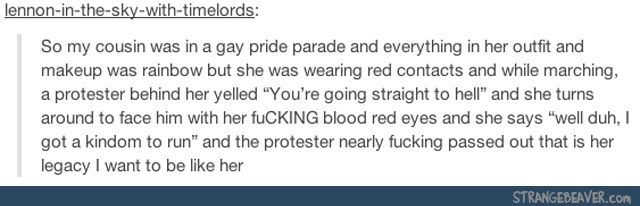 Gay pride parade protester you're going straight to hell throne well duh I've got a kingdom to run