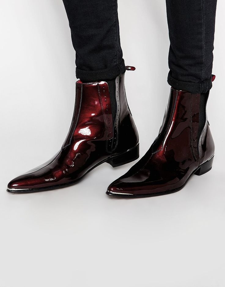 Image 1 of Jeffery West Leather Patent Chelsea Boots