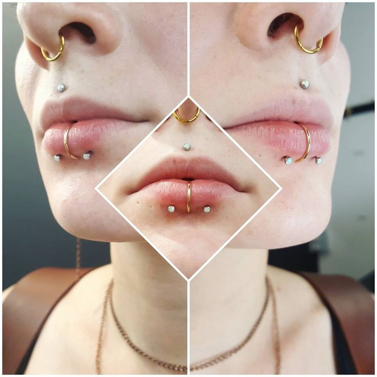 """305 Likes, 7 Comments - Amanda (@piercerlady) on Instagram: """"Fresh paired lower lip piercings for the lovely Alyssa to accent her labret piercing, which we…"""""""