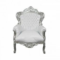 Poltrona divano barocco bianco shabby argento silver