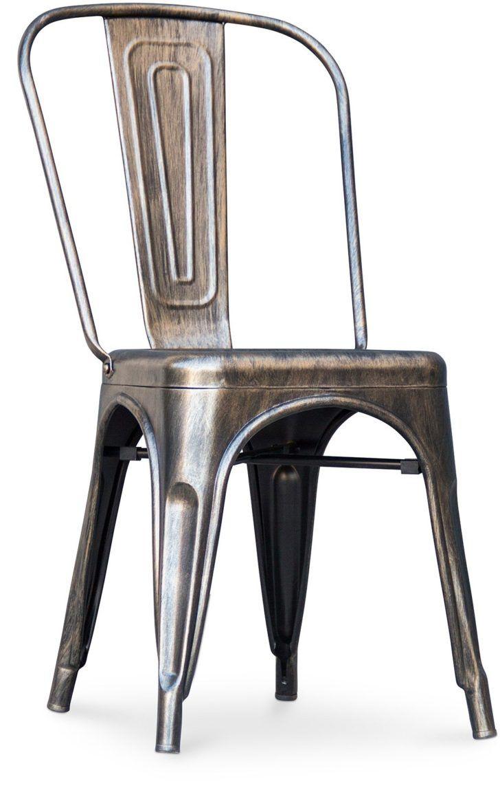 Interior Design Chaise Tolix Chaise Metal Brillant Bronze