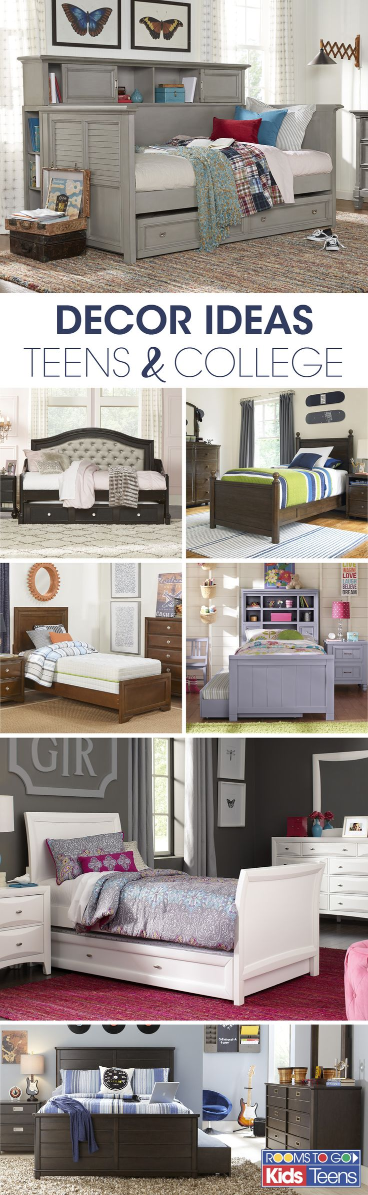 With decorator inspired room sets that come in a range of colors, styles and sizes, Rooms To Go Kids makes finding the perfect bed for your teenager or college student easy and fun! Visit Rooms To Go Kids now to see these beautiful teens' bedroom sets and more!