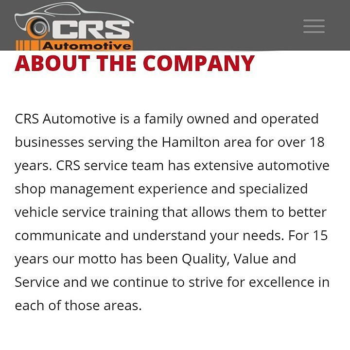 @CRSAutomotive is a family owned and operated business serving the Hamilton area over 18 years! http://crsautomotive.com/  #HamOnt #Oakville #carservice #cardealership