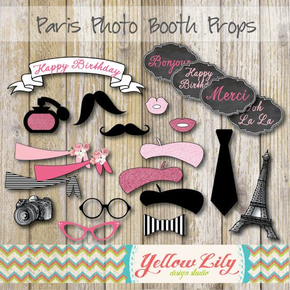 Paris Themed Photo Booth Props- printable, DIY, INSTANT DOWNLOAD