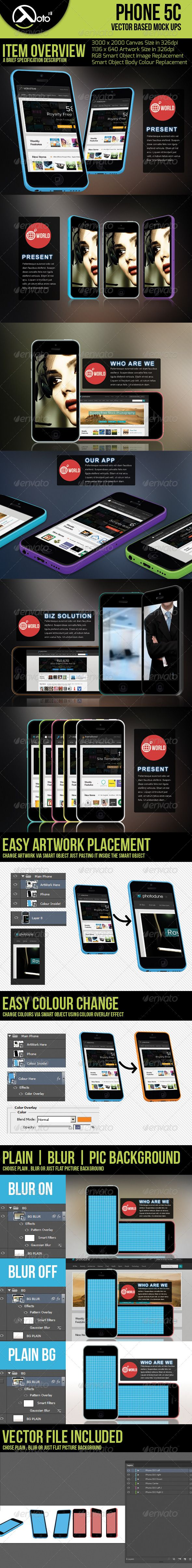 Phone 5c Vector Based Mockup — Photoshop PSD #website #iphone • Available here → https://graphicriver.net/item/phone-5c-vector-based-mockup/5667376?ref=pxcr