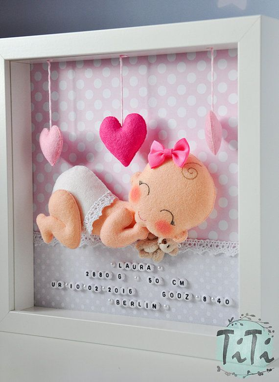 Baby Decorative Frame New baby Personalised Felt box by TiTics  Conoce más de los bebes en Somos Mamas.