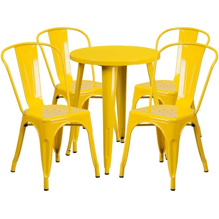 iHome Brimmes Round 24'' Yellow Metal Indoor-Outdoor Table Set w/4 Cafe Chairs for Restaurant/Bar/Pub/Patio, Size 5-Piece Sets, Patio Furniture