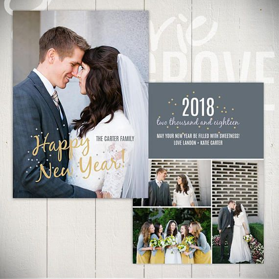 2021 New Years Card Template Confetti A 5x7 New Year Card Etsy New Year Card Card Template Modern Card