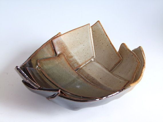 pottery hand built slab bowls | Serving Bowl. 7.5 inch diam. Hand-made. Slab Built. Stoneware