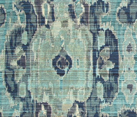 Navy Blue and Teal Woven Ikat Upholstery Fabric - Contemporary Teal Grey Large Scale Fabric for Furniture - Blue Ikat Throw Pillow Covers