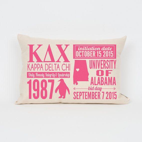 Kappa Delta Chi Custom Sorority Facts Pillow // Greek by Sororitee
