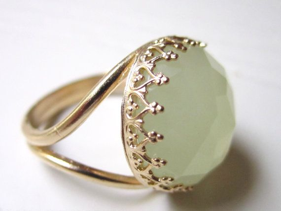 Valentine's Day - gold lemon jade gemstone ring, prong setting ring, 14k gold, green ring, round gold ring on Etsy