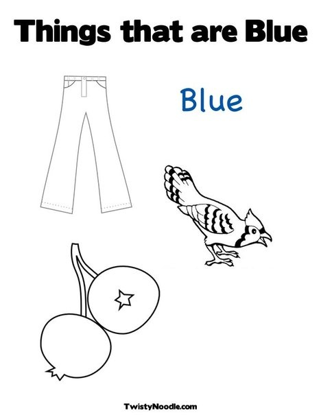 Things that are Blue Coloring Page from