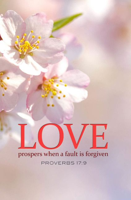 Proverbs 17:9 -- Love prospers when a fault is forgiven.