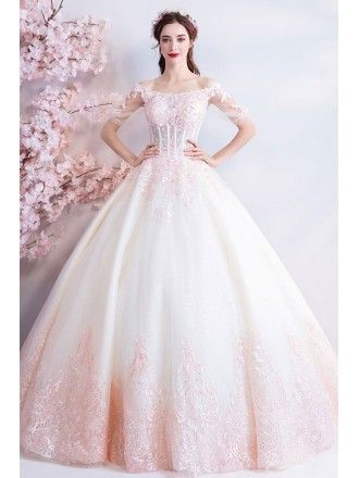 2a2c6701c8b88 Dreamy Princess White And Pink Ball Gown Wedding Dress Off Shoulder ...
