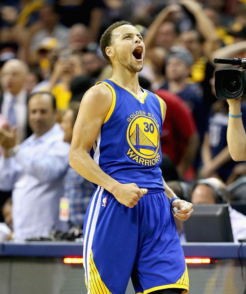Description of . MEMPHIS, TN - MAY 15:  Stephen Curry #30 of the  Golden State Warriors celebrates after making a basket to end the third quarter against the Memphis Grizzlies during Game six of the Western Conference Semifinals of the 2015 NBA Playoffs at FedExForum on May 15, 2015 in Memphis, Tennessee.  NOTE TO USER: User expressly acknowledges and agrees that, by downloading and or using this photograph, User is consenting to the terms and conditions of the Getty Images License Agreement…
