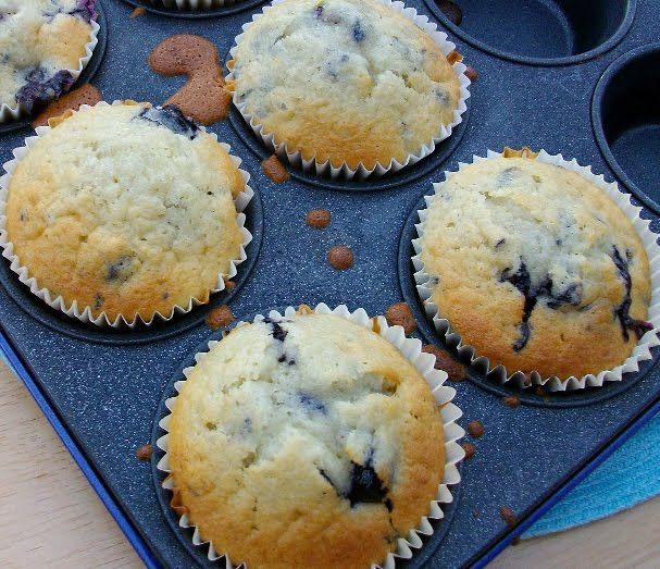 BEST blueberry muffins. I doubled and used half sour cream, half Brown Cow vanilla yogurt, a few splashes of half n half to make it less thick.