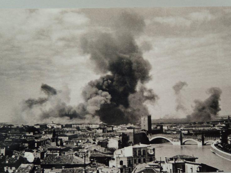 WWII Verona Northern Italy -  1945 - un bombardamento nella zona della stazione ferroviaria di Porta Nuova.